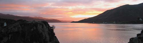 Sunset over Sound of Sleat from Ferry House