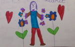 drawing of figure and flowers from guest book